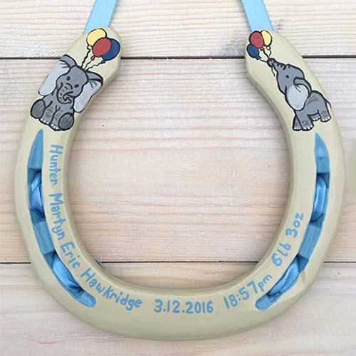 Elephants And Balloons Horseshoe Gift
