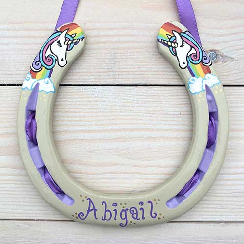 Unicorns And Rainbow Horseshoe Gift